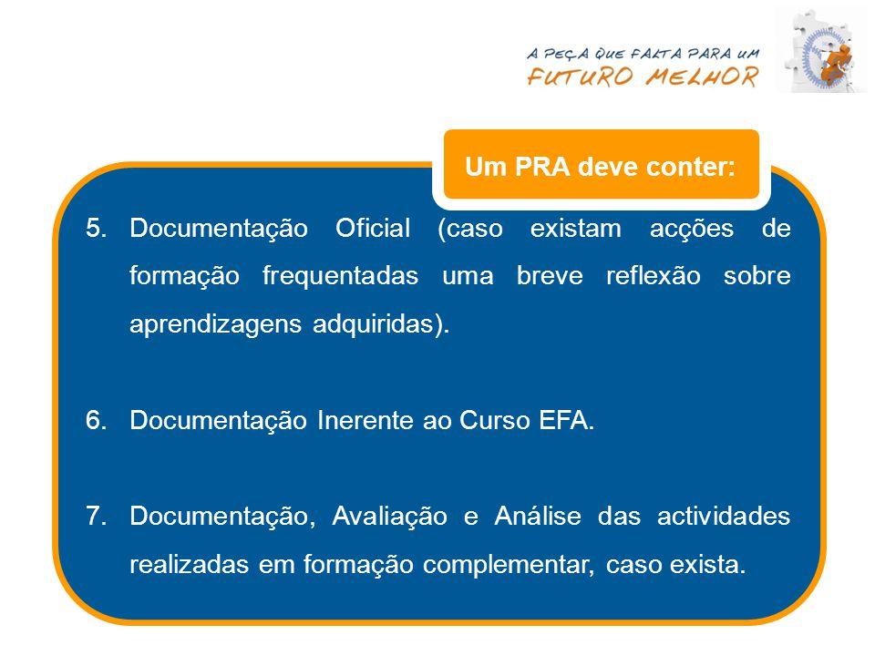 5.Documentação Oficial (caso existam acções de formação frequentadas uma breve reflexão sobre aprendizagens adquiridas). 6.Documentação Inerente ao Cu