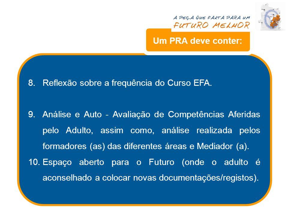 8.Reflexão sobre a frequência do Curso EFA. 9.Análise e Auto - Avaliação de Competências Aferidas pelo Adulto, assim como, análise realizada pelos for