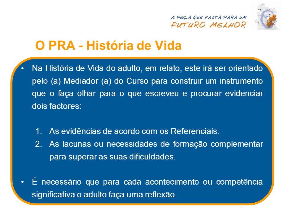 O PRA - História de Vida Na História de Vida do adulto, em relato, este irá ser orientado pelo (a) Mediador (a) do Curso para construir um instrumento