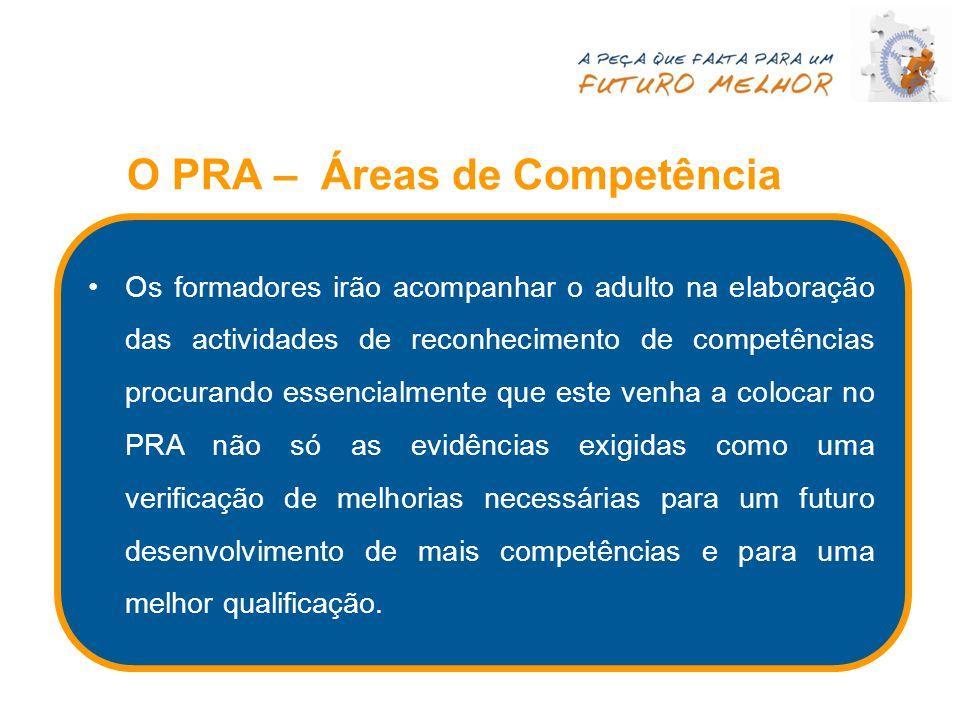 O PRA – Áreas de Competência Os formadores irão acompanhar o adulto na elaboração das actividades de reconhecimento de competências procurando essenci