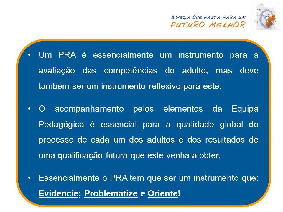 Um PRA é essencialmente um instrumento para a avaliação das competências do adulto, mas deve também ser um instrumento reflexivo para este. O acompanh