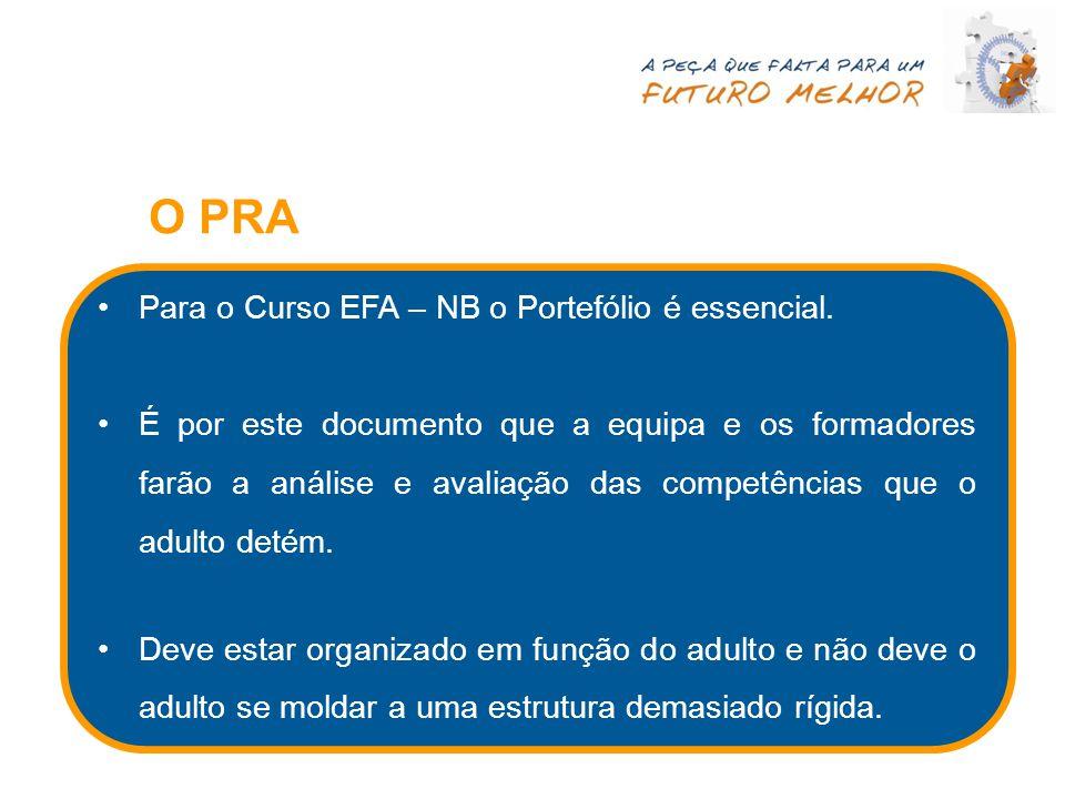 Para o Curso EFA – NB o Portefólio é essencial. É por este documento que a equipa e os formadores farão a análise e avaliação das competências que o a