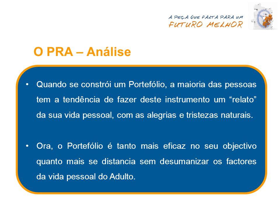 """O PRA – Análise Quando se constrói um Portefólio, a maioria das pessoas tem a tendência de fazer deste instrumento um """"relato"""" da sua vida pessoal, co"""