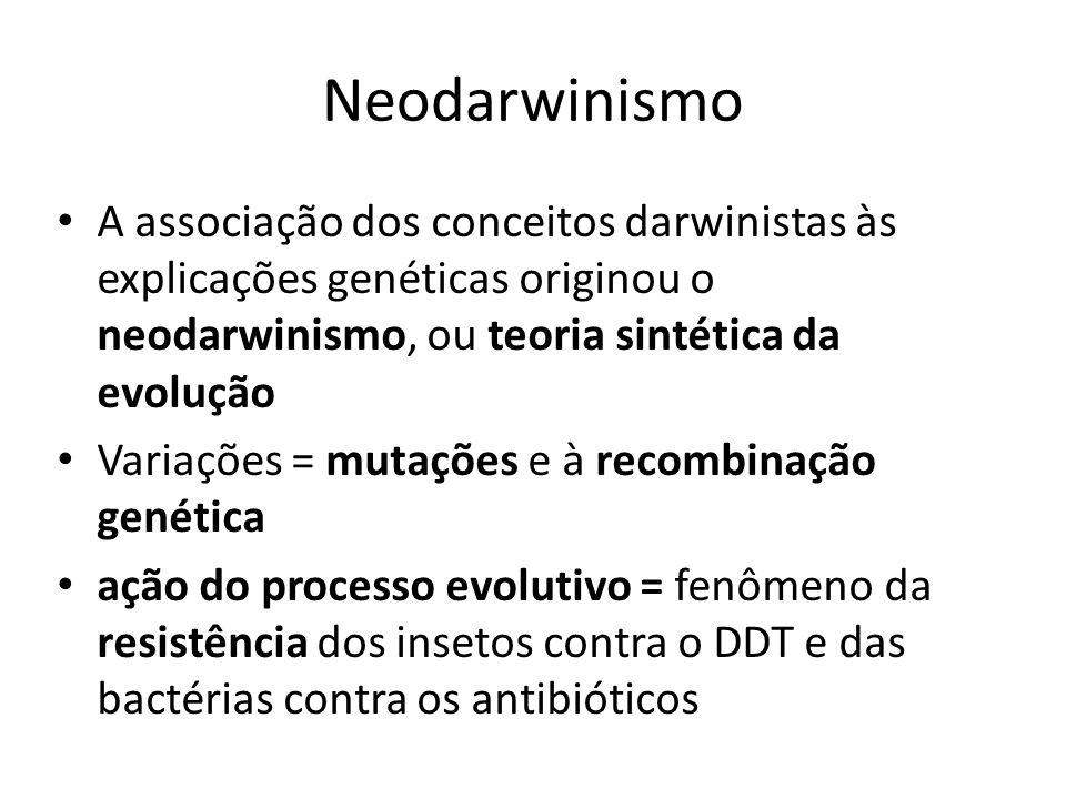 Neodarwinismo A associação dos conceitos darwinistas às explicações genéticas originou o neodarwinismo, ou teoria sintética da evolução Variações = mu