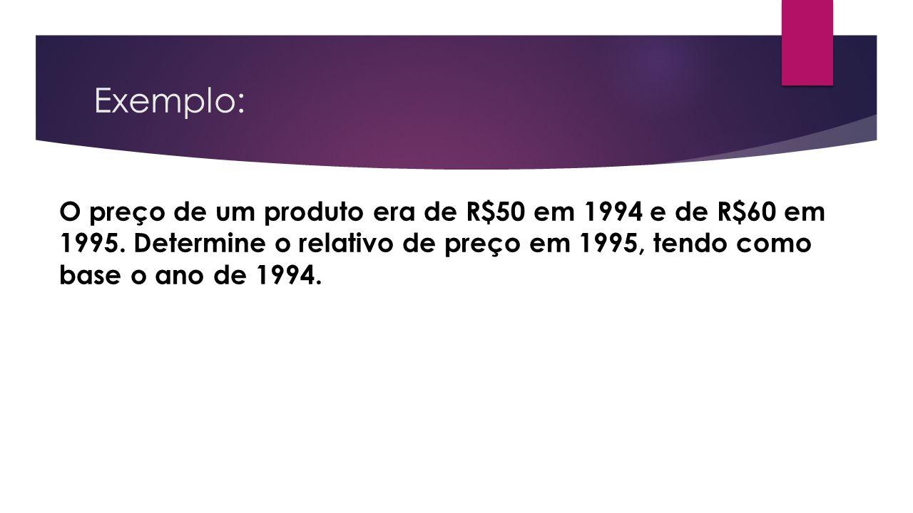 Exemplo: O preço de um produto era de R$50 em 1994 e de R$60 em 1995. Determine o relativo de preço em 1995, tendo como base o ano de 1994.