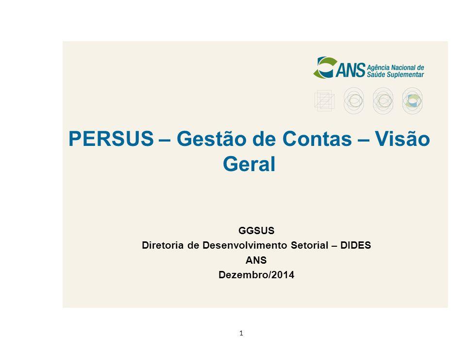 PERSUS – Gestão de Contas – Visão Geral GGSUS Diretoria de Desenvolvimento Setorial – DIDES ANS Dezembro/2014 1
