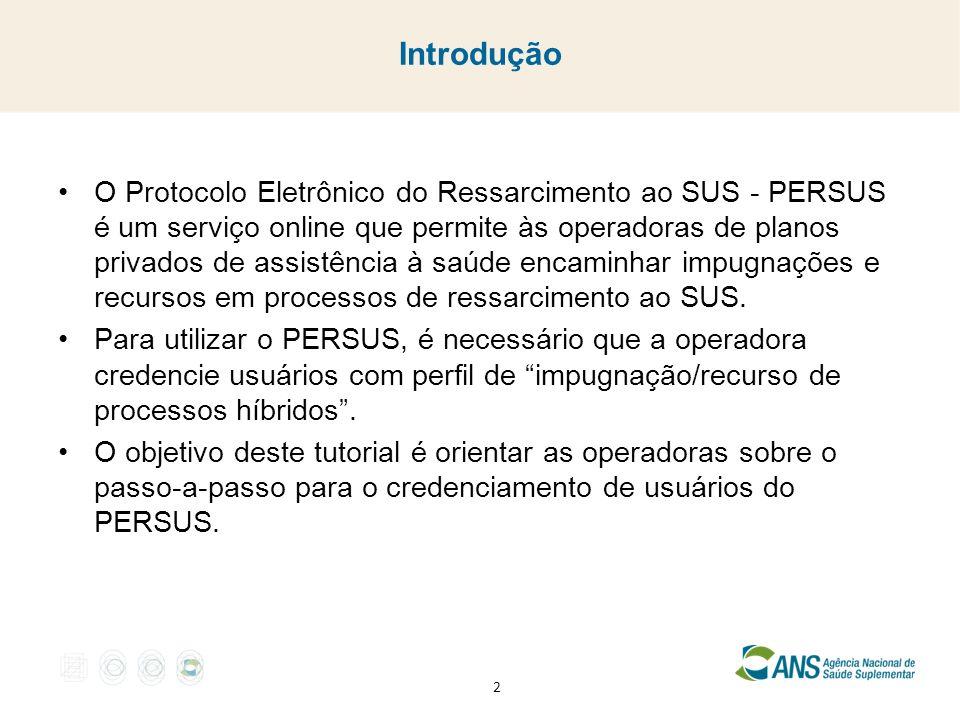 Introdução O Protocolo Eletrônico do Ressarcimento ao SUS - PERSUS é um serviço online que permite às operadoras de planos privados de assistência à saúde encaminhar impugnações e recursos em processos de ressarcimento ao SUS.
