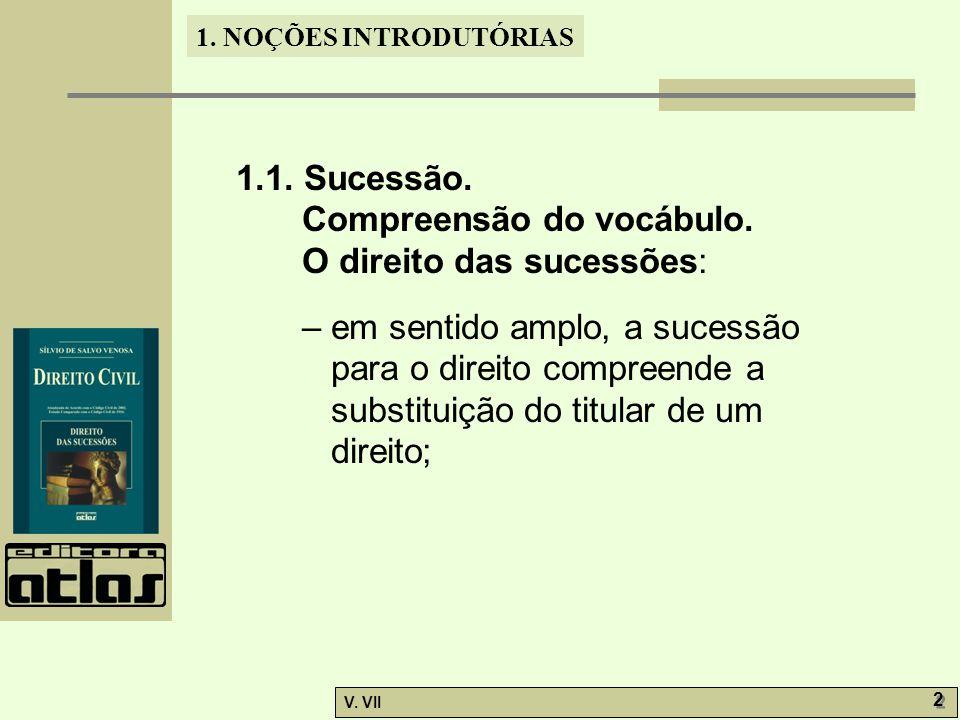 1.NOÇÕES INTRODUTÓRIAS V. VII 2 2 1.1. Sucessão. Compreensão do vocábulo.