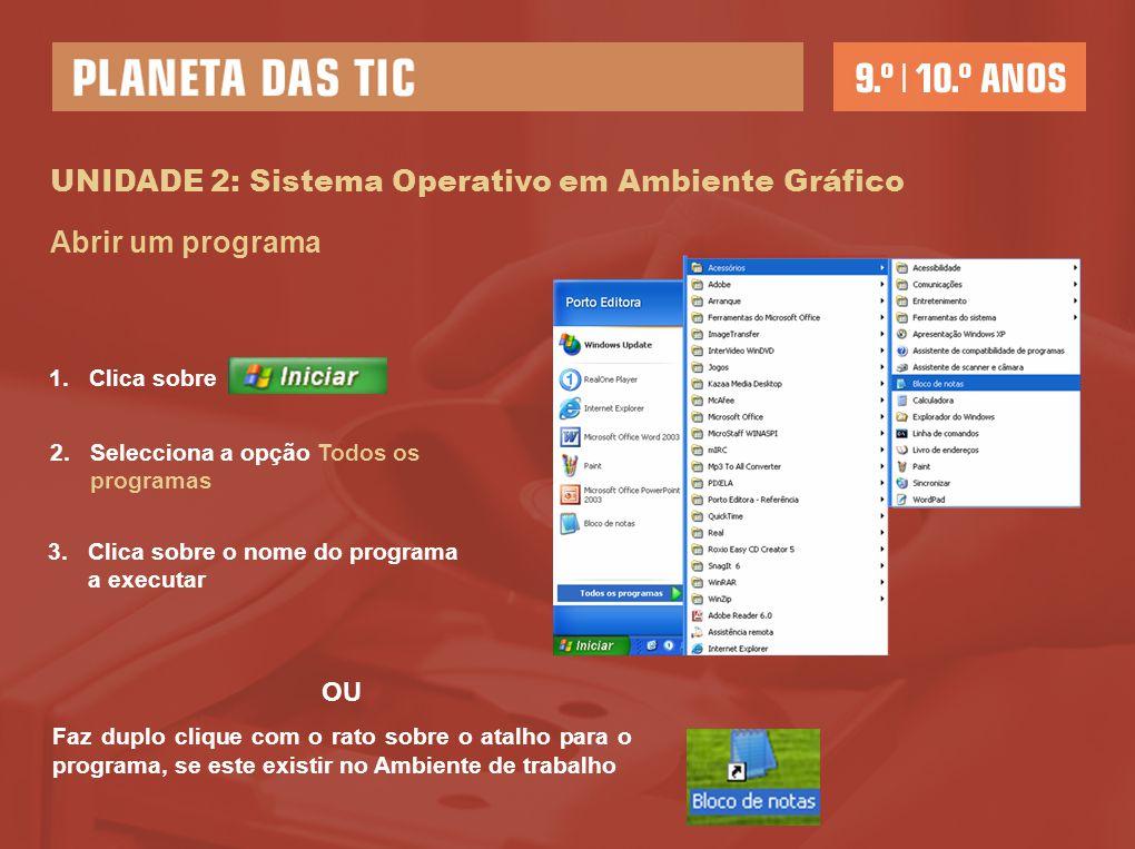 UNIDADE 2: Sistema Operativo em Ambiente Gráfico Abrir um programa 1.Clica sobre 2.Selecciona a opção Todos os programas 3.Clica sobre o nome do progr