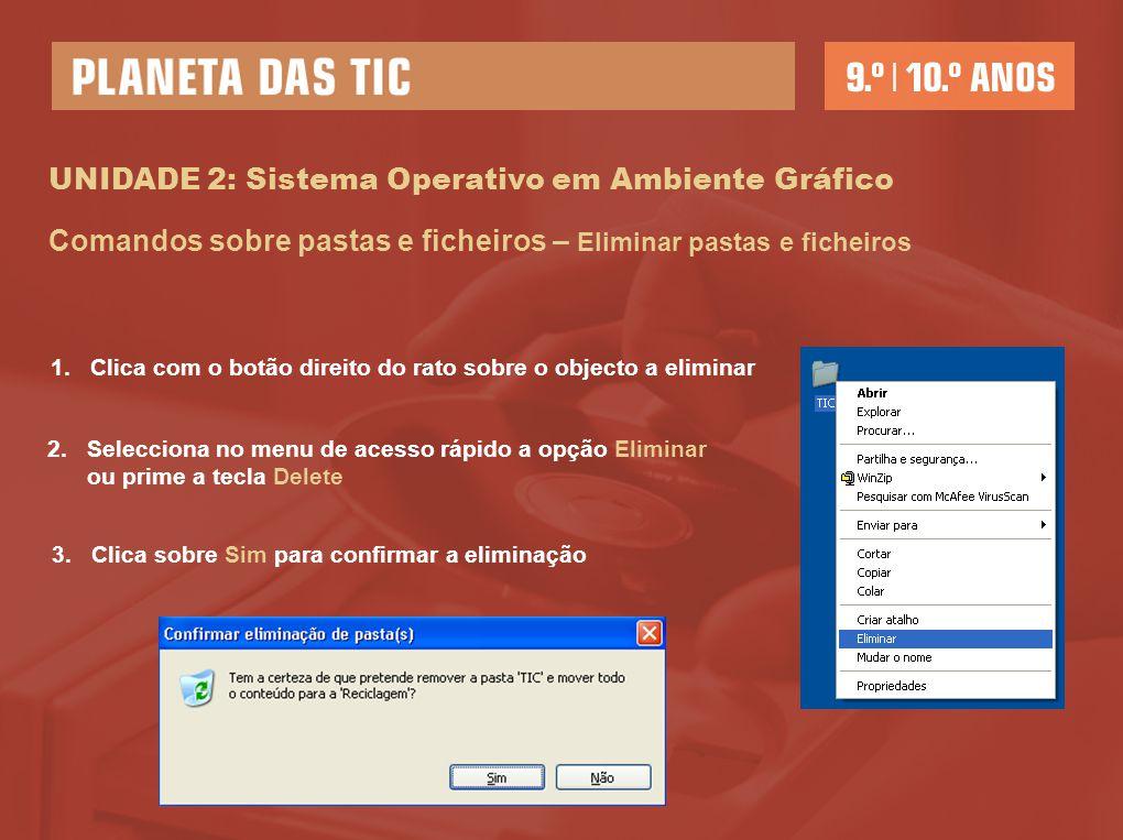 UNIDADE 2: Sistema Operativo em Ambiente Gráfico Comandos sobre pastas e ficheiros – Eliminar pastas e ficheiros 1.Clica com o botão direito do rato s
