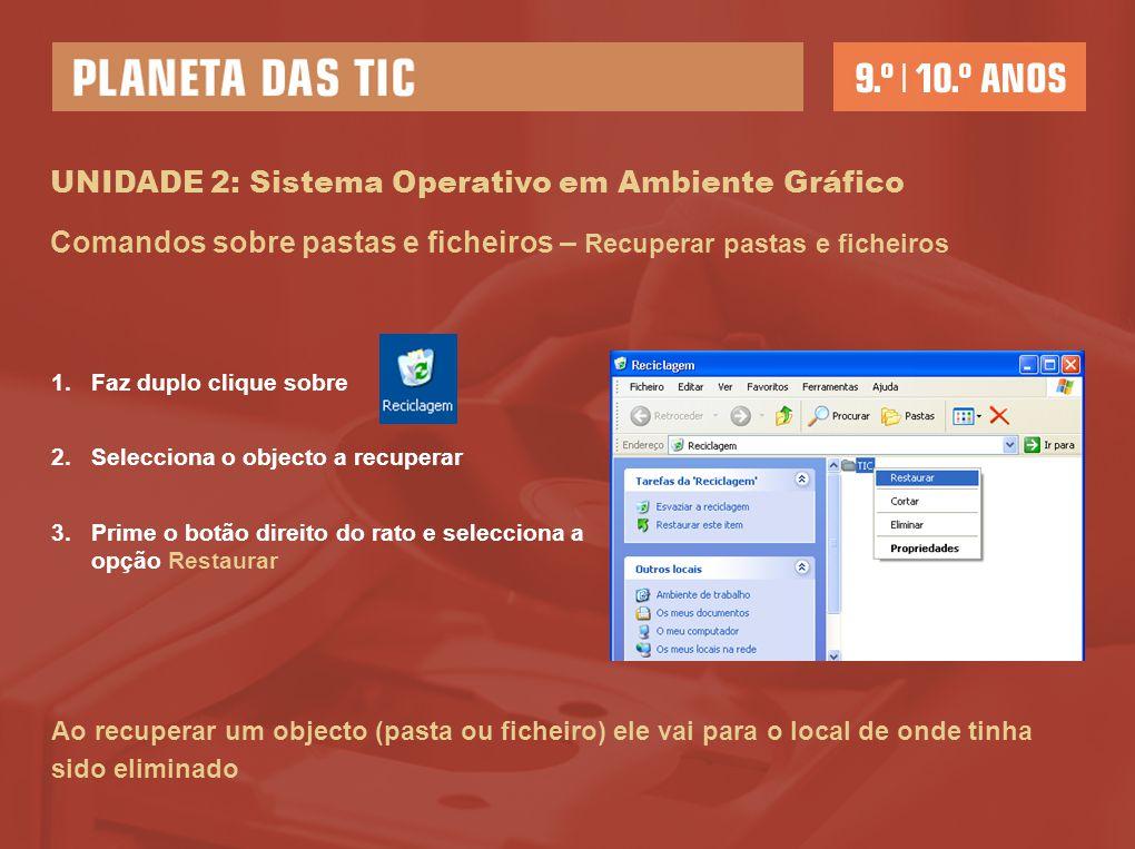 UNIDADE 2: Sistema Operativo em Ambiente Gráfico Comandos sobre pastas e ficheiros – Recuperar pastas e ficheiros 1.Faz duplo clique sobre 2.Seleccion