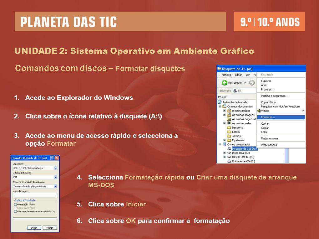 UNIDADE 2: Sistema Operativo em Ambiente Gráfico Comandos com discos – Formatar disquetes 1.Acede ao Explorador do Windows 3.Acede ao menu de acesso r