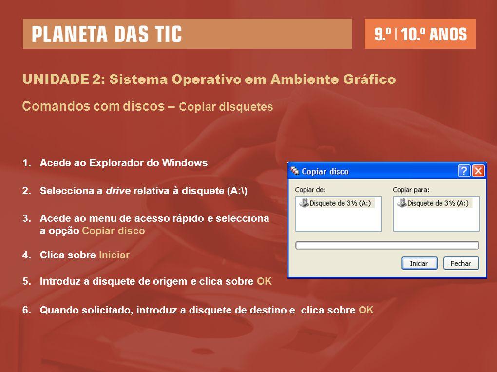 UNIDADE 2: Sistema Operativo em Ambiente Gráfico Comandos com discos – Copiar disquetes 1.Acede ao Explorador do Windows 2.Selecciona a drive relativa