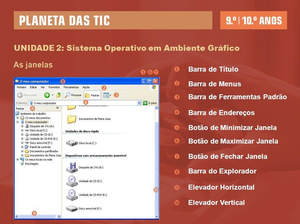 UNIDADE 2: Sistema Operativo em Ambiente Gráfico As janelas           Barra de Título Barra de Menus Barra de Ferramentas Padrão Barra de En