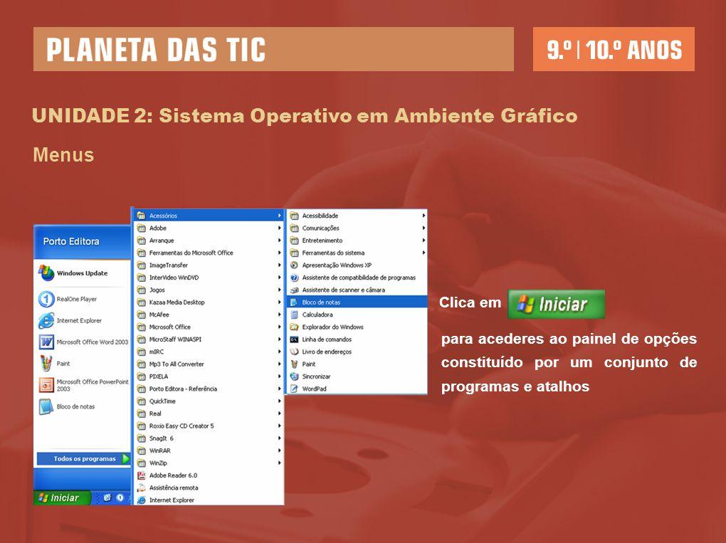 UNIDADE 2: Sistema Operativo em Ambiente gráfico Caixas de diálogo – permitem estabelecer um diálogo com o computador 1.