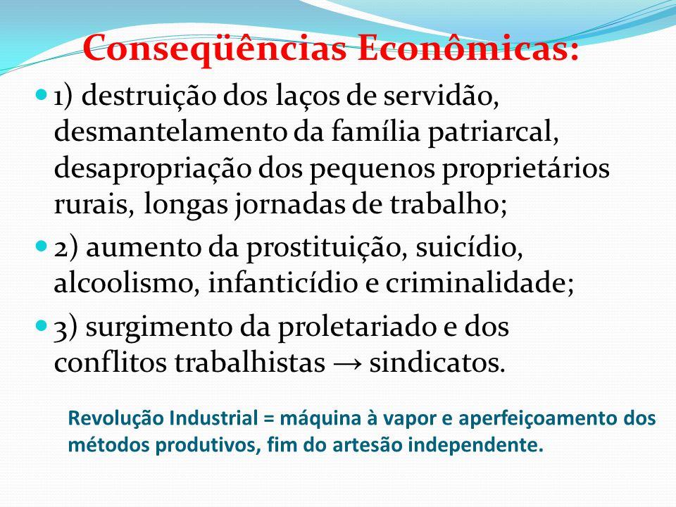Revolução Industrial = máquina à vapor e aperfeiçoamento dos métodos produtivos, fim do artesão independente. Conseqüências Econômicas: 1) destruição