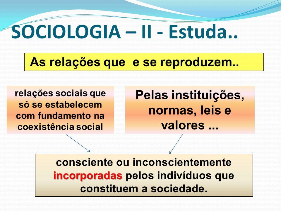 SOCIOLOGIA – II - Estuda.. As relações que e se reproduzem.. incorporadas consciente ou inconscientemente incorporadas pelos indivíduos que constituem