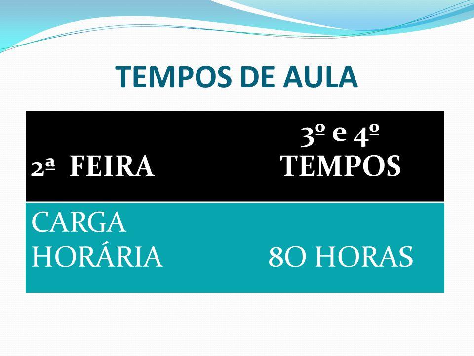 TEMPOS DE AULA 2ª FEIRA 3º e 4º TEMPOS CARGA HORÁRIA8O HORAS