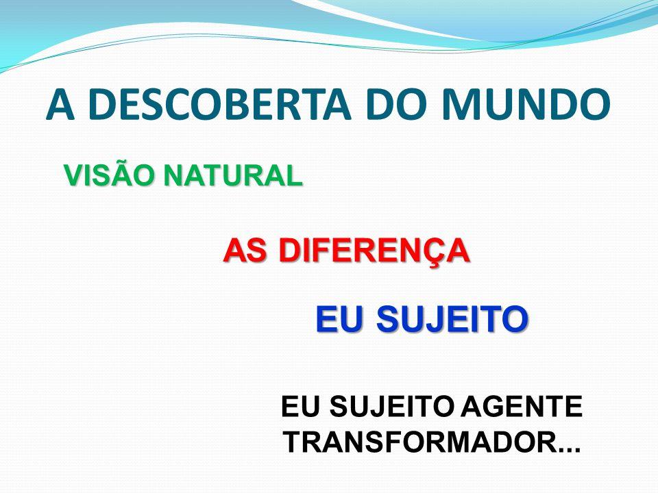 A DESCOBERTA DO MUNDO VISÃO NATURAL AS DIFERENÇA AS DIFERENÇA EU SUJEITO EU SUJEITO AGENTE TRANSFORMADOR...