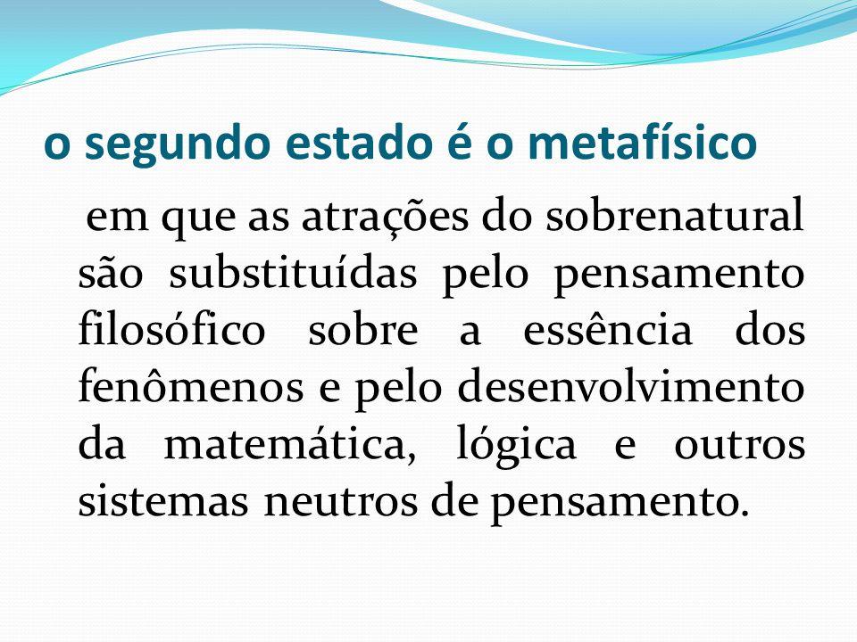o segundo estado é o metafísico em que as atrações do sobrenatural são substituídas pelo pensamento filosófico sobre a essência dos fenômenos e pelo d