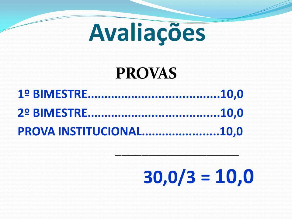 Avaliações PROVAS 1º BIMESTRE.......................................10,0 2º BIMESTRE.......................................10,0 PROVA INSTITUCIONAL...