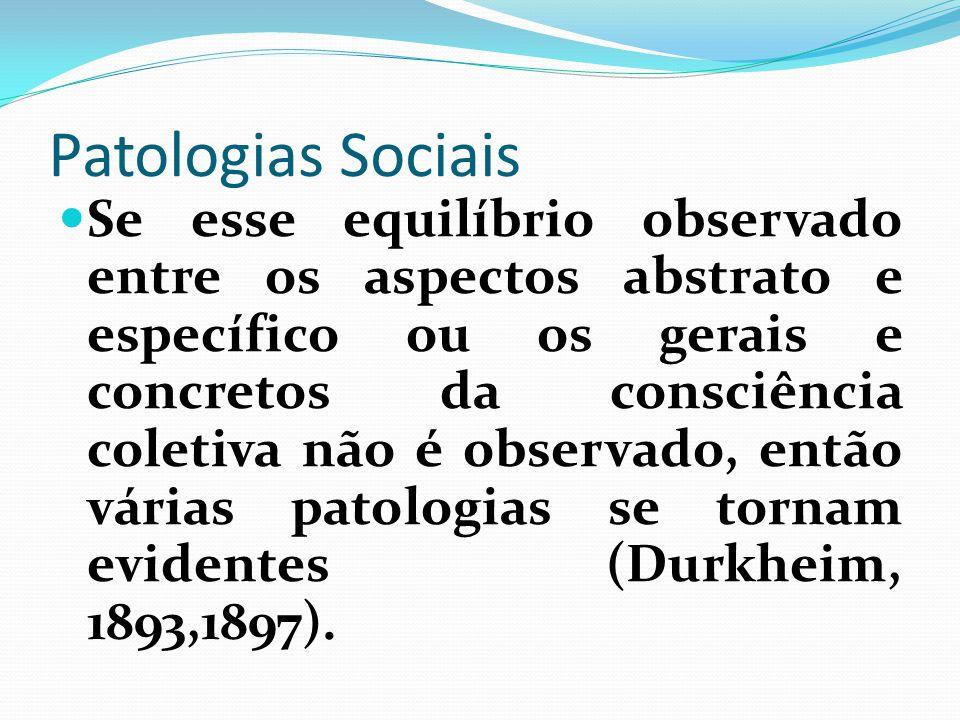 Patologias Sociais Se esse equilíbrio observado entre os aspectos abstrato e específico ou os gerais e concretos da consciência coletiva não é observa