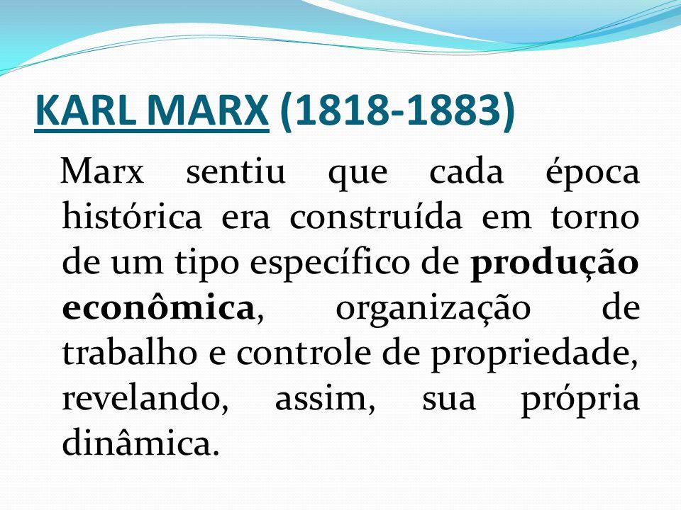 KARL MARX (1818-1883) Marx sentiu que cada época histórica era construída em torno de um tipo específico de produção econômica, organização de trabalh