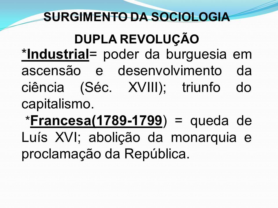 *Industrial= poder da burguesia em ascensão e desenvolvimento da ciência (Séc. XVIII); triunfo do capitalismo. * Francesa(1789-1799) = queda de Luís X