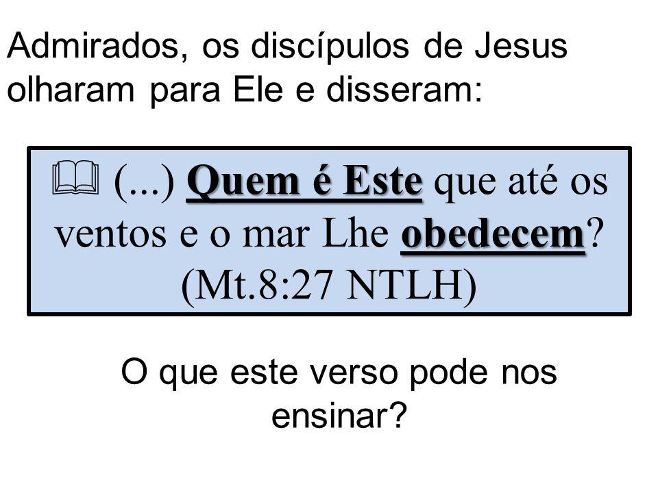 Admirados, os discípulos de Jesus olharam para Ele e disseram: Quem é Este obedecem  (...) Quem é Este que até os ventos e o mar Lhe obedecem.