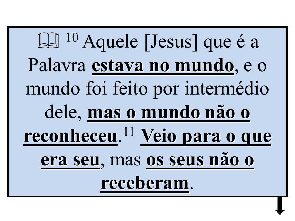 estava no mundo mas o mundo não o reconheceuVeio para o que era seuos seus não o receberam  10 Aquele [Jesus] que é a Palavra estava no mundo, e o mundo foi feito por intermédio dele, mas o mundo não o reconheceu.