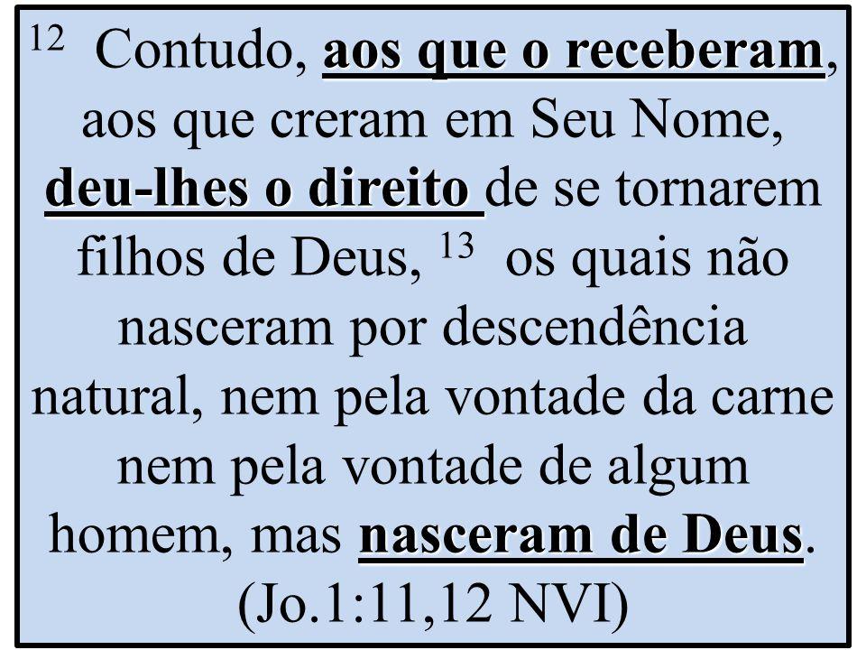 aos que o receberam deu-lhes o direito nasceram de Deus 12 Contudo, aos que o receberam, aos que creram em Seu Nome, deu-lhes o direito de se tornarem