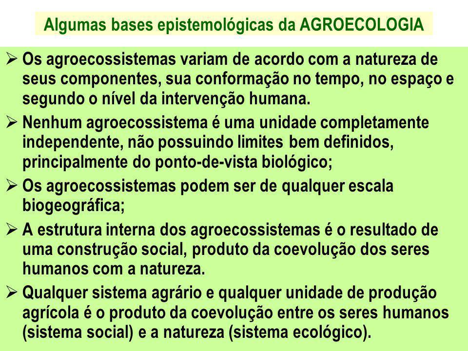 Algumas bases epistemológicas da AGROECOLOGIA  Os agroecossistemas variam de acordo com a natureza de seus componentes, sua conformação no tempo, no