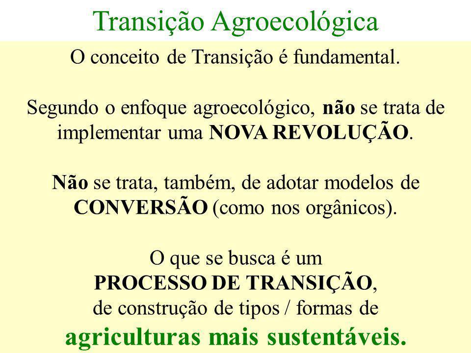 Transição Agroecológica O conceito de Transição é fundamental. Segundo o enfoque agroecológico, não se trata de implementar uma NOVA REVOLUÇÃO. Não se