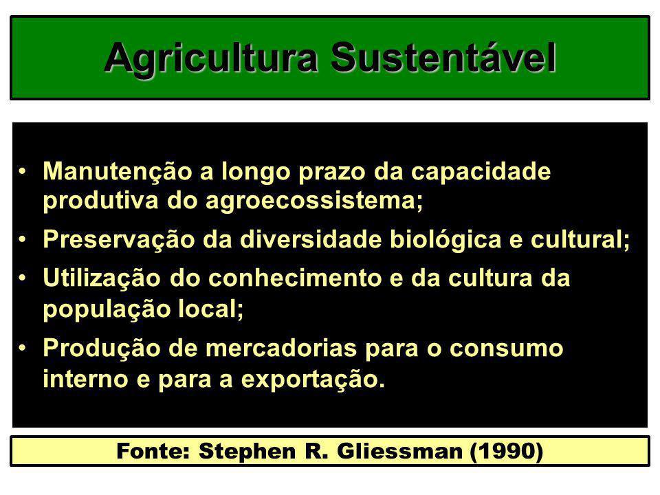 Agricultura Sustentável Manutenção a longo prazo da capacidade produtiva do agroecossistema; Preservação da diversidade biológica e cultural; Utilizaç