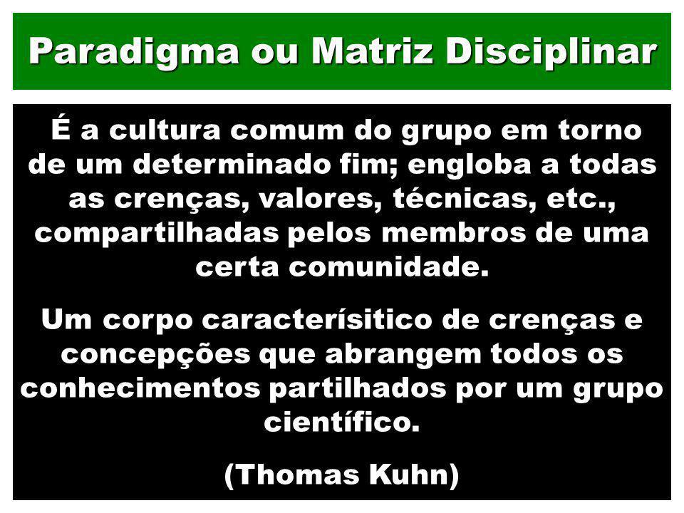 Paradigma ou Matriz Disciplinar É a cultura comum do grupo em torno de um determinado fim; engloba a todas as crenças, valores, técnicas, etc., compar