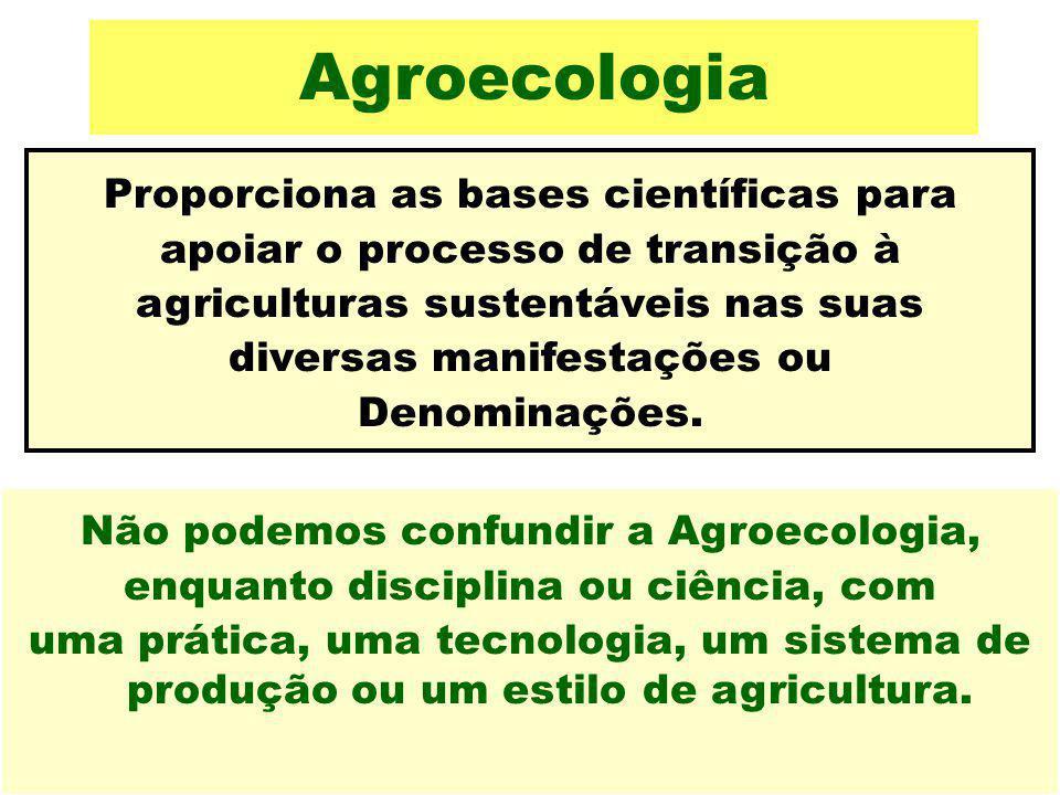 Agroecologia Proporciona as bases científicas para apoiar o processo de transição à agriculturas sustentáveis nas suas diversas manifestações ou Denom