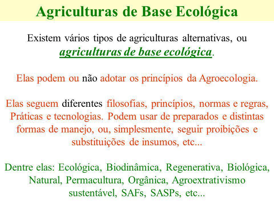Agriculturas de Base Ecológica Existem vários tipos de agriculturas alternativas, ou agriculturas de base ecológica. Elas podem ou não adotar os princ
