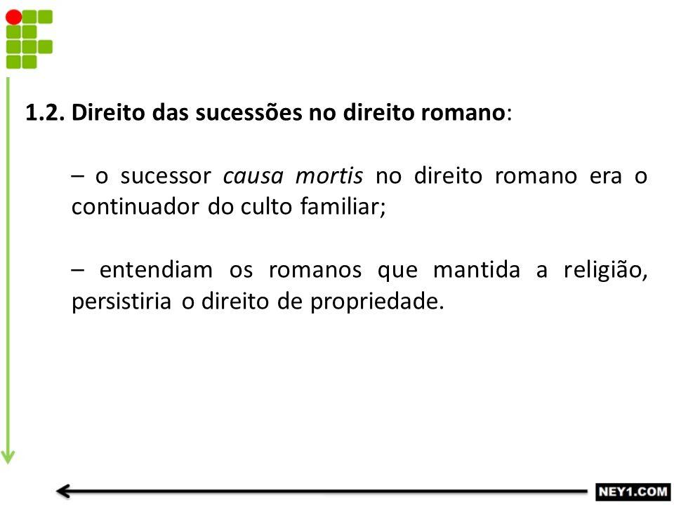 1.2. Direito das sucessões no direito romano: – o sucessor causa mortis no direito romano era o continuador do culto familiar; – entendiam os romanos