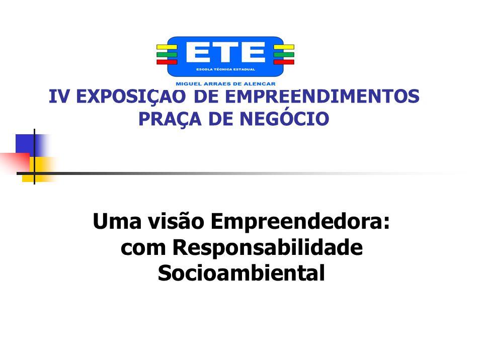 IV EXPOSIÇÃO DE EMPREENDIMENTOS PRAÇA DE NEGÓCIO Uma visão Empreendedora: com Responsabilidade Socioambiental