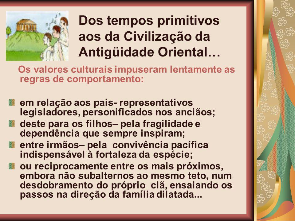 Os valores culturais impuseram lentamente as regras de comportamento: em relação aos pais- representativos legisladores, personificados nos anciãos; d