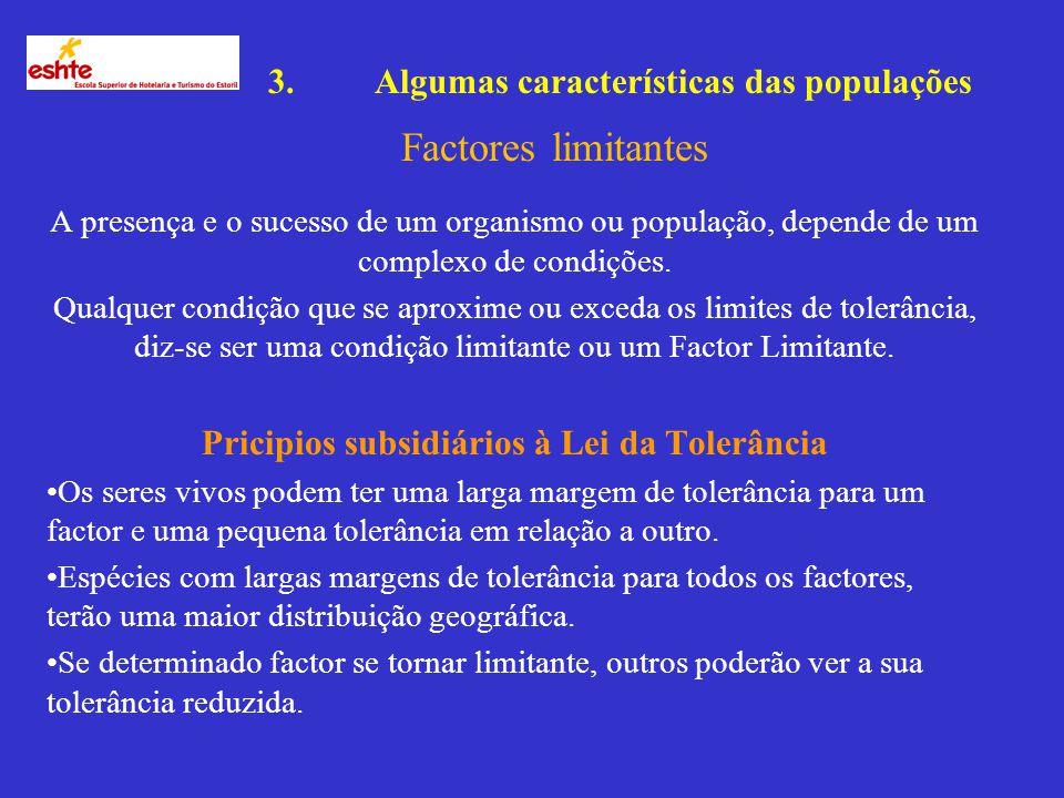 3.Algumas características das populações Factores limitantes Esteno:Estreito Euri:Largo