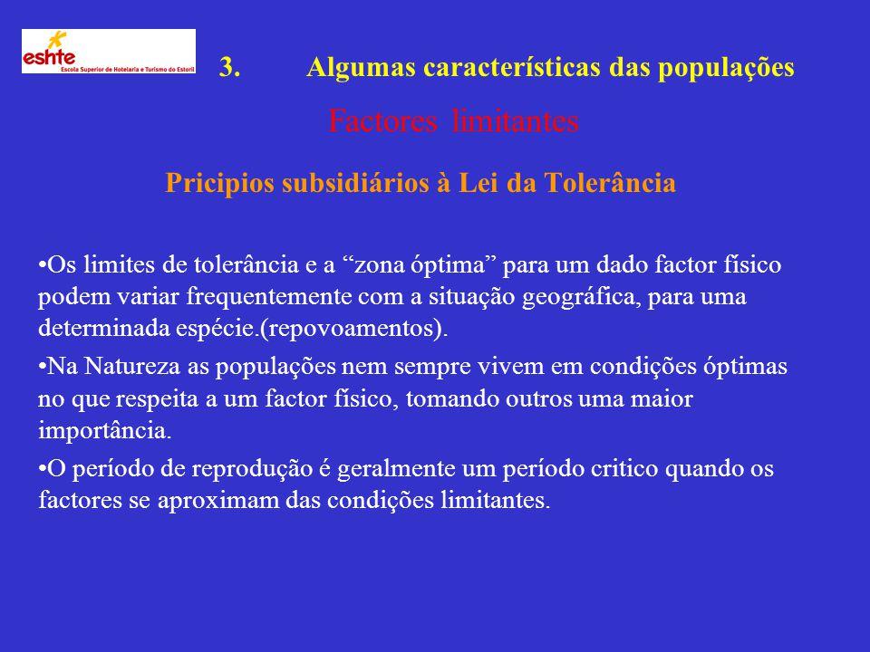 3.Algumas características das populações Factores limitantes A presença e o sucesso de um organismo ou população, depende de um complexo de condições.
