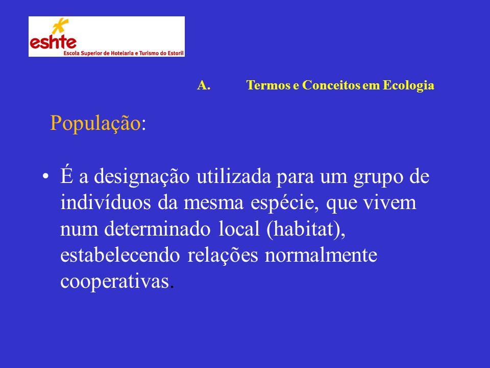 É a designação utilizada para um grupo de indivíduos da mesma espécie, que vivem num determinado local (habitat), estabelecendo relações normalmente cooperativas.