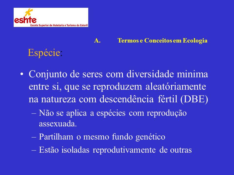 Conjunto de seres com diversidade minima entre si, que se reproduzem aleatóriamente na natureza com descendência fértil (DBE) –Não se aplica a espécies com reprodução assexuada.