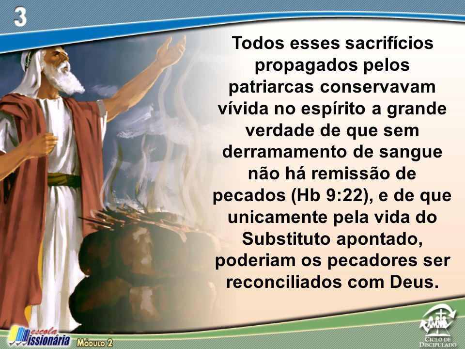 Todos esses sacrifícios propagados pelos patriarcas conservavam vívida no espírito a grande verdade de que sem derramamento de sangue não há remissão