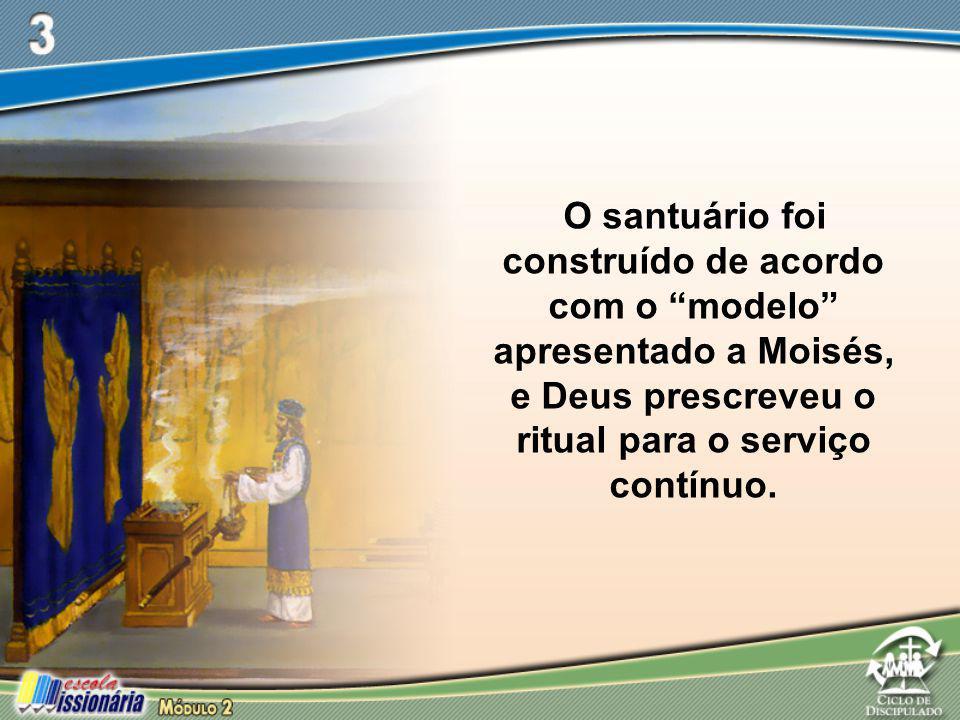 O santuário foi construído de acordo com o modelo apresentado a Moisés, e Deus prescreveu o ritual para o serviço contínuo.