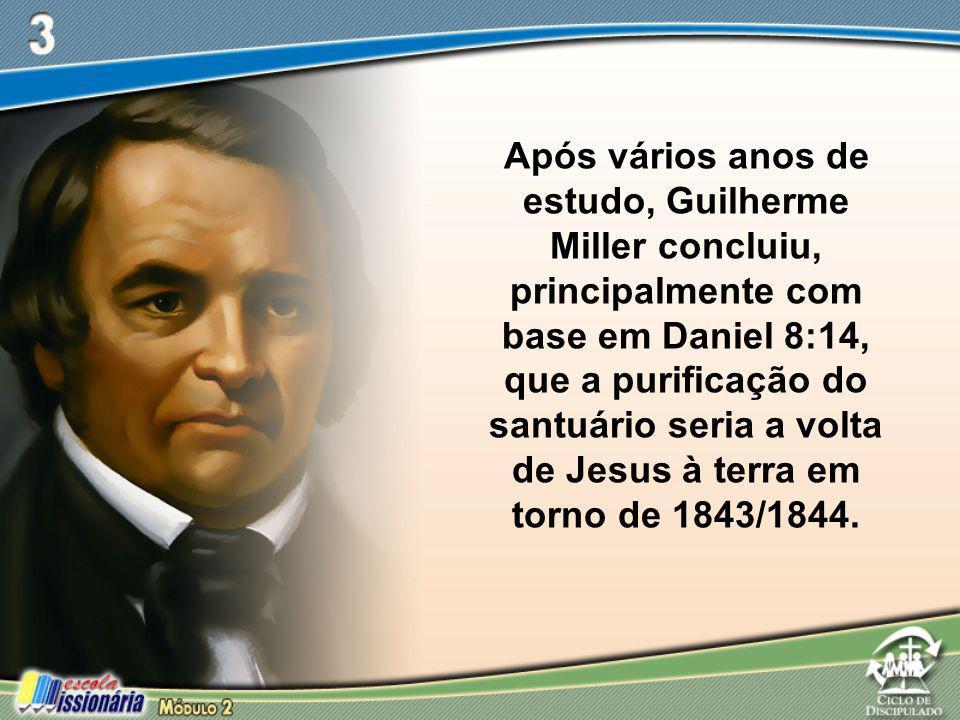 Após vários anos de estudo, Guilherme Miller concluiu, principalmente com base em Daniel 8:14, que a purificação do santuário seria a volta de Jesus à