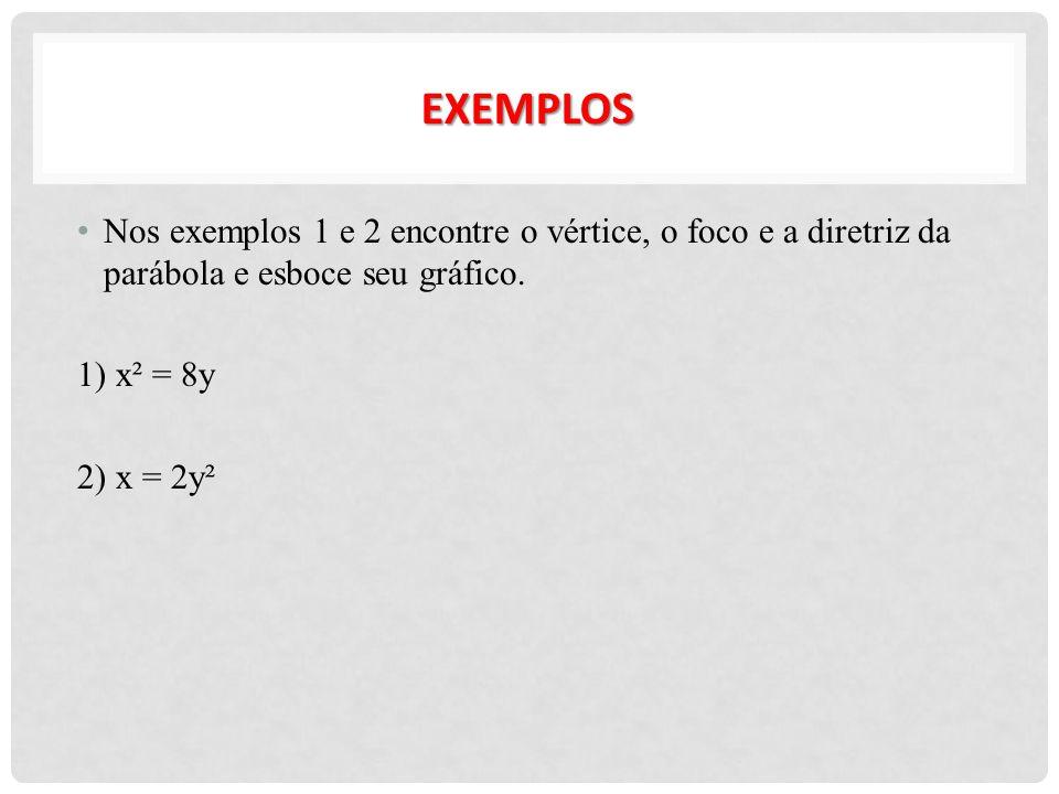 Nos exemplos 1 e 2 encontre o vértice, o foco e a diretriz da parábola e esboce seu gráfico. 1) x² = 8y 2) x = 2y² EXEMPLOS