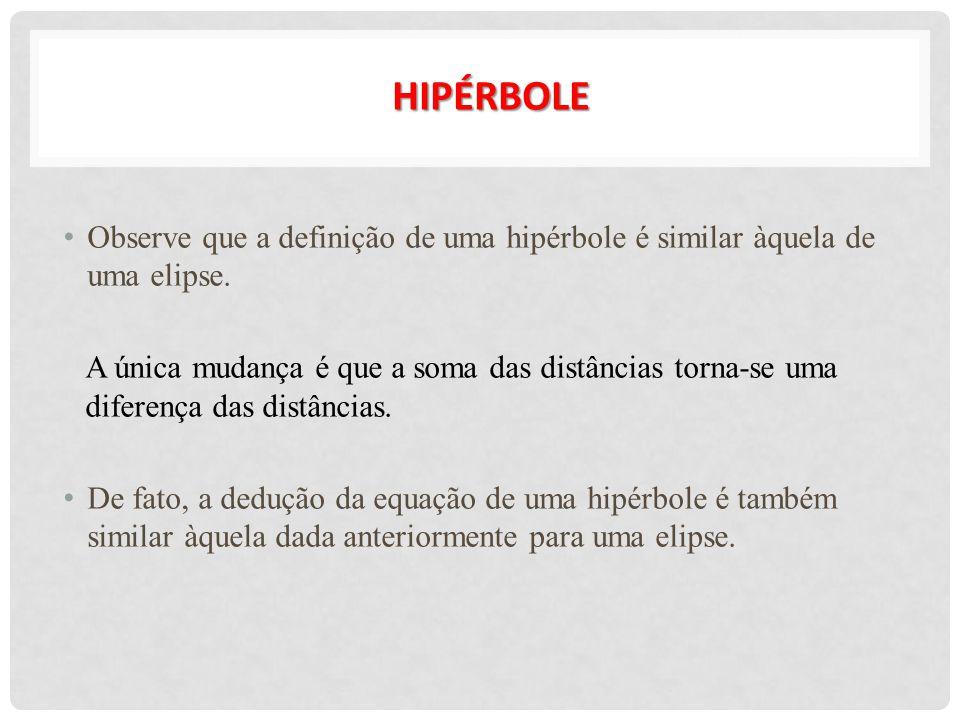 HIPÉRBOLE Observe que a definição de uma hipérbole é similar àquela de uma elipse. A única mudança é que a soma das distâncias torna-se uma diferença