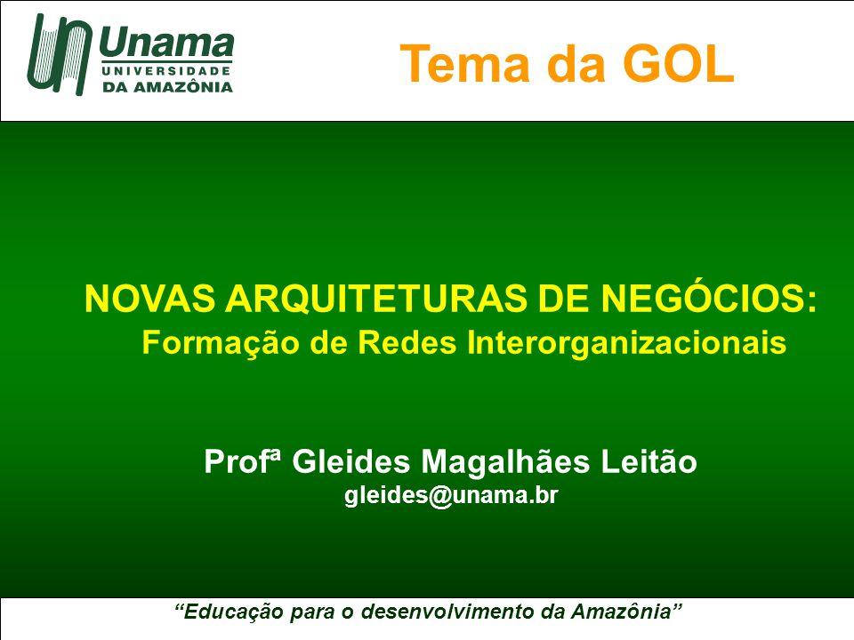 Educação para o desenvolvimento da Amazônia A UNAMA NO BRASIL NOVAS ARQUITETURAS DE NEGÓCIOS: Formação de Redes Interorganizacionais Profª Gleides Magalhães Leitão gleides@unama.br Tema da GOL